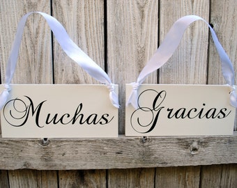 Muchas Gracias and Novio and Novia Spanish Wedding Signs Double Sided Chair Hangers and Photo Props