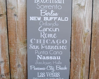 5 year Anniversay Gift wood Destination Sign CUSTOMIZED