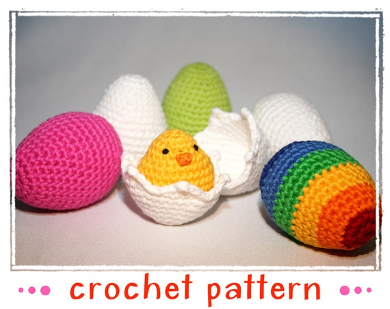 Amigurumi Crochet Egg : Items similar to Egg Collection & Chick - Crochet Pattern ...