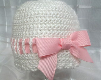 White and Pink Crochet Baby Hat with Ribbon