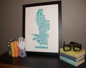 "Phoenix Neighborhoods Poster in Turquoise 18x24"""