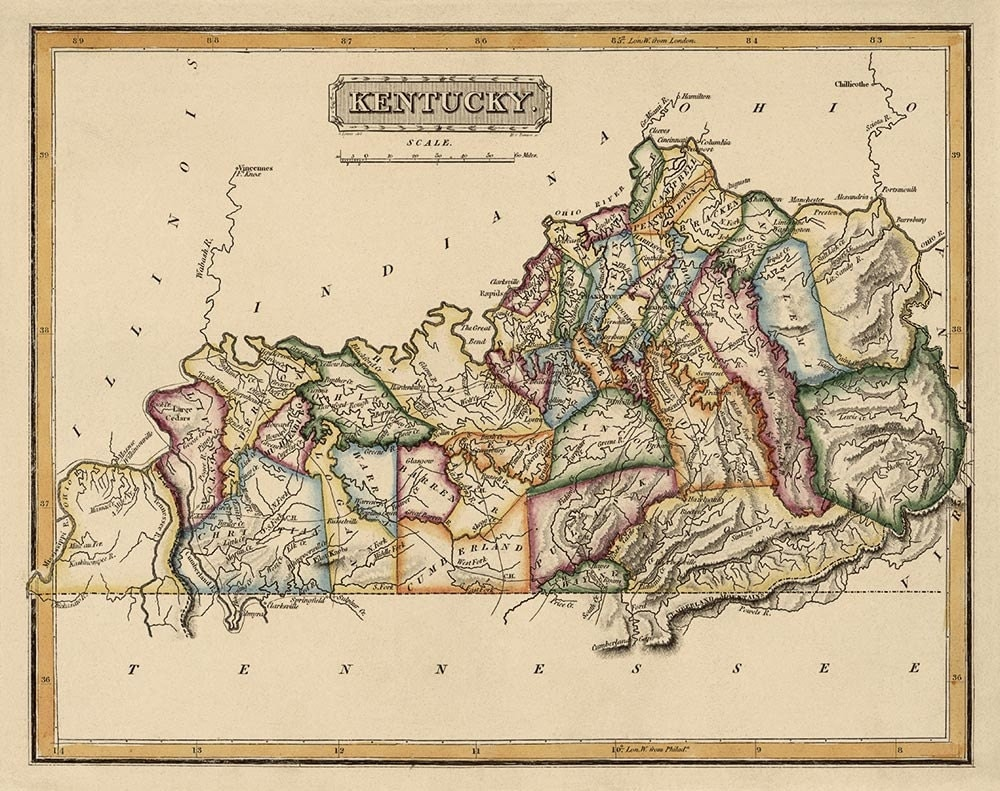 It is a graphic of Smart Printable Maps of Kentucky
