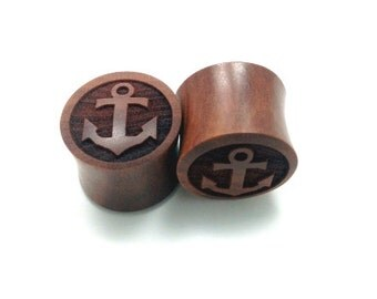 """Custom Handmade Organic """"Anchor"""" Wood Plugs  -- You choose wood type/color and size 7/16"""" - 30mm"""