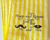 50 Yellow Stripe retro 'Hugs and Kisses...' candy buffet bags, wedding cake bags,candy station bags, favor bags