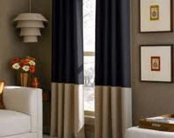 Custom Color Blocked Linen Panels 96 x 50 Lined and Interlined - Select Your Own Colors Including Animal Prints