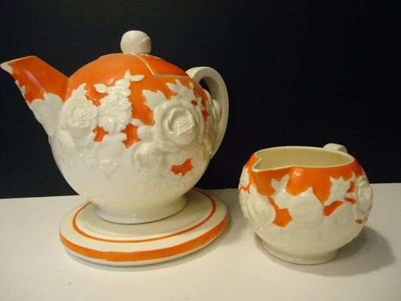 Vintage Orange Teapot and Creamer, Hand Painted in Japan