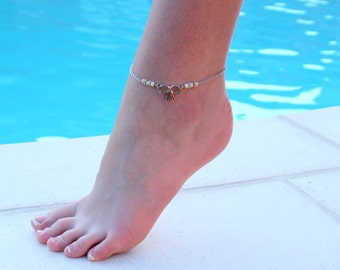 Silver Bow Anklet with Natural White Turquoise beads