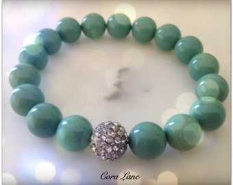 Turquoise Bracelet, Teal Bracelet, Teal Jewelry, Silver Bead, Bridesmaid Gifts, Summer Fashion, Wedding, Teal Pearls
