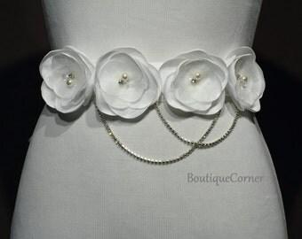 White Bridal Sash-Satin Flower Sash-Sparkly Rhinestone Chain-Crystals-Swarovski Pearls-Wedding Accessories-White Ribbon-Bridal Belt