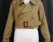 Vintage Remake Cropped Trench Coat (Beige)