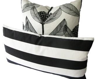 Decorative Black and White Cabana Stripe Pillow Cover,  Lumbar, Throw Pillow