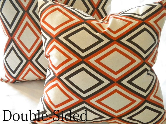 Fall pillow cover Orange brown modern  16 x 16 Double Sided