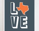 8x10 Love Texas Charcoal Wall Art Print