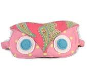 Sleep Mask, Owl, Eye Mask, Pink, Cotton, Ready to Ship