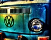 Weathered VW Photograph, retro decor, green, blue, beach wall art, vintage 60's volkswagon, 8x8 fine art photo print