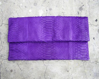 OVERSIZE - Purple Fold Over Python Snakeskin Leather Clutch Bag