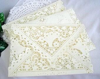 Doily Lace Envelopes, Invitation Liners Ivory Cream Vintage Inspired Shabby Chic Wedding, Shower, Birthday, A7 Size