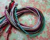 30 pcs 18-20 inch 3mm assorted colors(15colors) twist silk necklace cord with a loop and knot