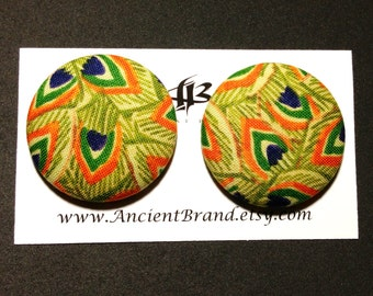 Oversized Javanese Peacock Print Button Earrings