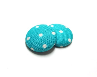 Small Turquoise Polka Dot Print Button Earrings