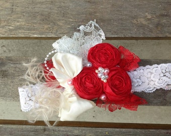 Red Rosettes Headband, Baby headband by Isabella Couture