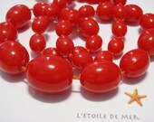 STOCKTAKE SALE Madame Red Necklace vintage retro mod acrylic beads colourful bold geometric