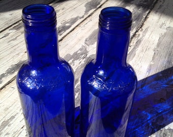 2 ferolito vultaggii sons cobalt blue bottles
