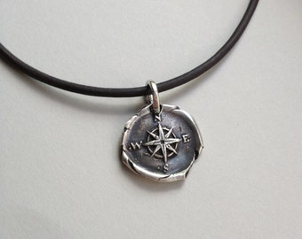 Wax Seal FIne Silver Pendant Necklace on Leather Cord: Compass, Men's Necklace, Graduation, Father's Day, Christmas, Stocking stuffer