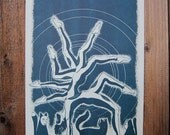 Black Cat Dance - 11x17 One Color Risograph Print