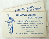 """2 Vintage Business Cards for """"Modern Dancing"""" - Two Illustrated Advertising Cards - Papercrafting Embellishment - Small Paper Ephemera"""