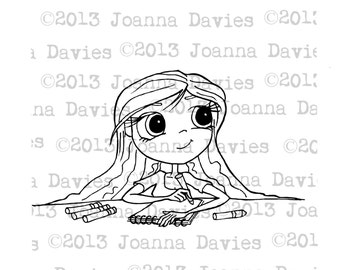 Girl Colouring Digital Stamp