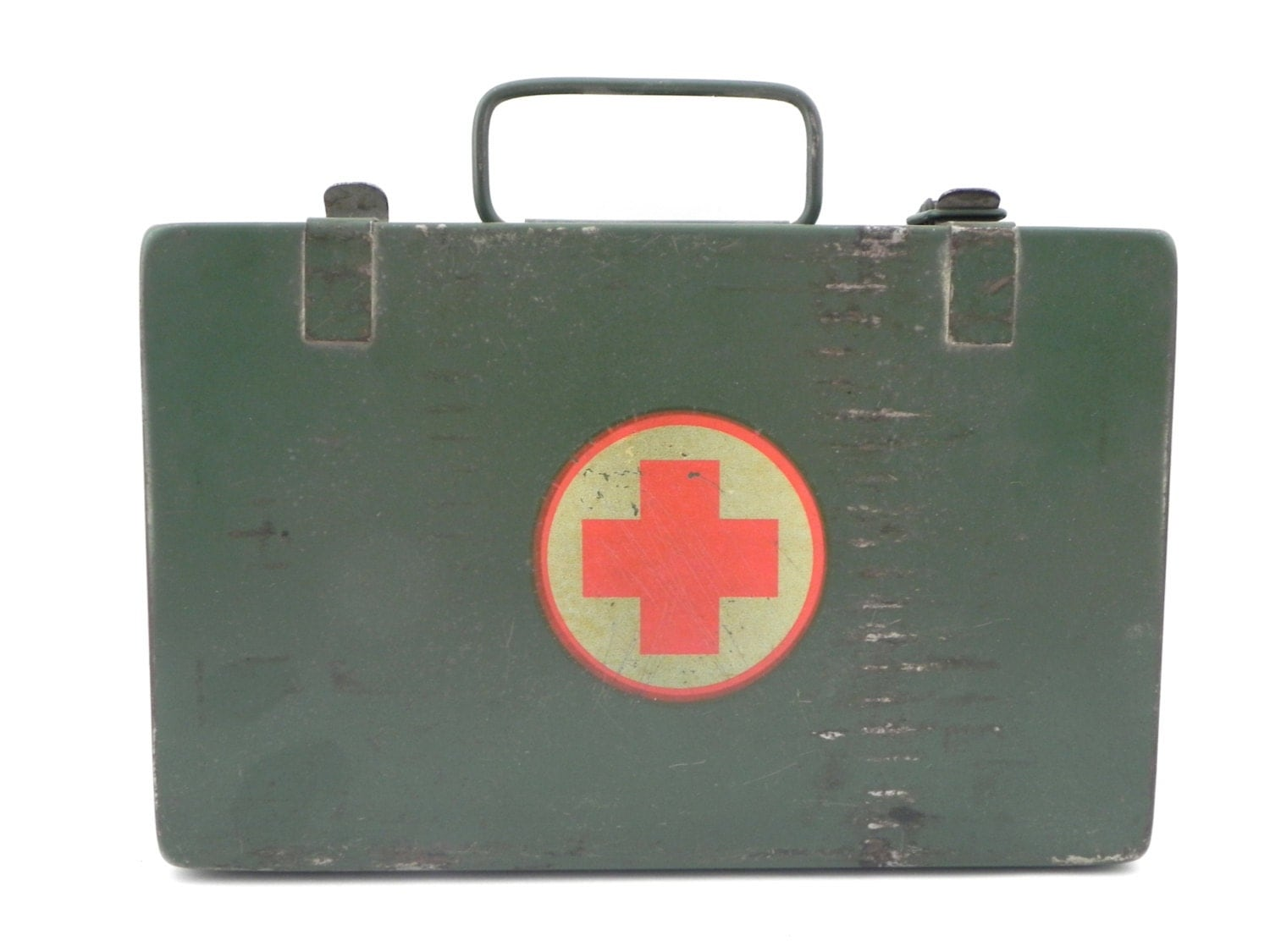 Military First Aid Kit Metal Box Industrial Army Green