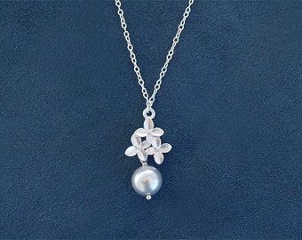 SPECIAL - Silver Flower Necklace - Silver Pearl Necklace with Blossom - Sterling Silver Chain - Wedding Bridesmaid Jewelry