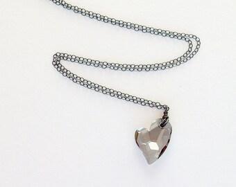 Gray Heart Necklace - Gray Necklace - Oxidized Sterling - Swarovski Crystal - Oxidized Sterling Jewelry - Gift for Her, Black Diamond