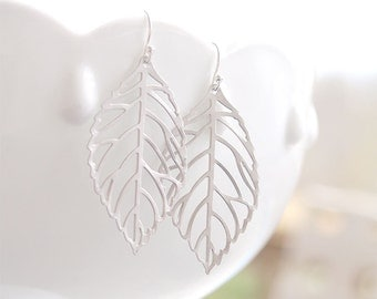 Silver Filigree Leaf Earrings on Sterling Silver Wires - Woodland Nature Jewelry, Leaf Earrings, Everyday Jewelry
