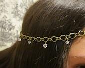 Bronze and Swarosvki/Vintage Crystal Head Chain
