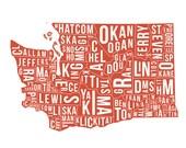 Washington State County Map - Poster Print - Wall Art - Gift