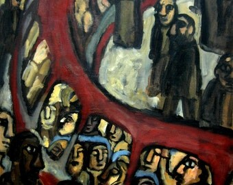 Red Métro Curve. Oil on Canvas, Contemporary Industrial Fine Art, Original Subway Painting