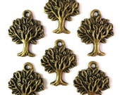 Bronze Tree Charms 22x17mm Antique Brass Tree Charm Tree Pendant Charms for DIY Jewelry Making, Craft Supplies, Lead Free Findings 10 Pieces