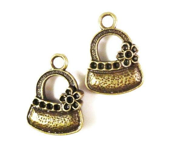 Bronze Handbag Charms 20x14mm Antique Brass Metal (Bronze) Purse Accessory Charm Pendant Jewelry Making Findings 10pcs