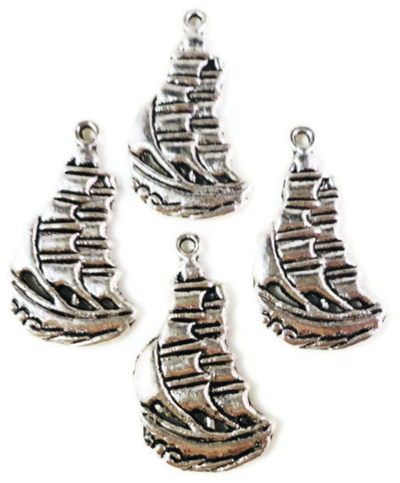 Silver Ship Charms 22x11mm Antique Silver Tone Metal Nautical Sail Boat Pirate Charm Pendant Jewelry Findings 10pcs