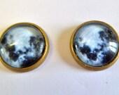 Full Moon earrings post stud silver or bronze