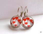 red earrings, heart, flower silver dangle drop
