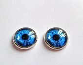 blue eyes earrings studs silver post free shipping