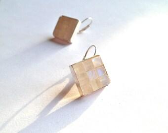 rainbow moonstone earrings, sterling silver, artisan, mosaic handmade dangle drop earrings, blue flash