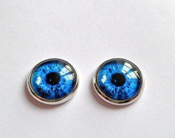 blue eyes earrings studs silver post free shipping