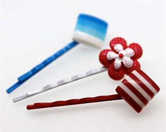 Red, White and Blue Bobby Pin Trio - Flower, Stripe