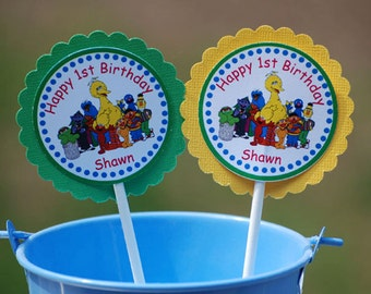 Sesame Street Gang Cupcake Toppers - Set of 12 Personalized Birthday Party Decorations