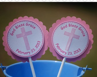 Cross Pink Baptism Christening First Holy Communion Cupcake Toppers - Set of 12 Personalized Religous Celebration Decorations