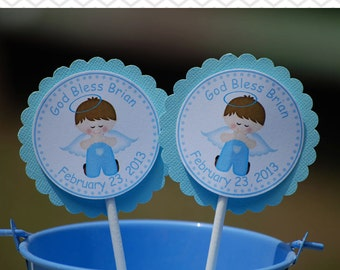 Kneeling Angel Boy Baptism Christening First Holy Communion Cupcake Toppers - Set of 12 Personalized Religous Celebration Decorations